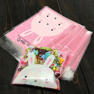 100*Cute Rabbit pattern self-adhesive plastic bags for biscuits snack baking#~