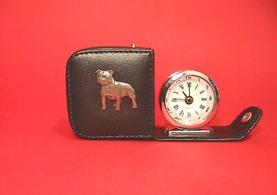 Staffordshire Bull Terrier Pewter Motif Travel Alarm Clock Mother Father Gift