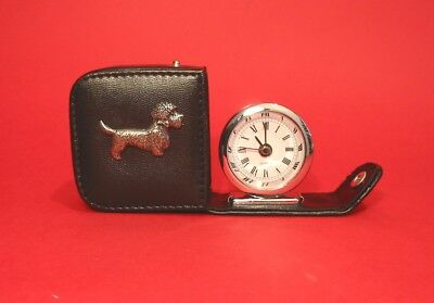 Dandie Dinmont Pewter Motif Travel Alarm Clock Mother Father Christmas Gift