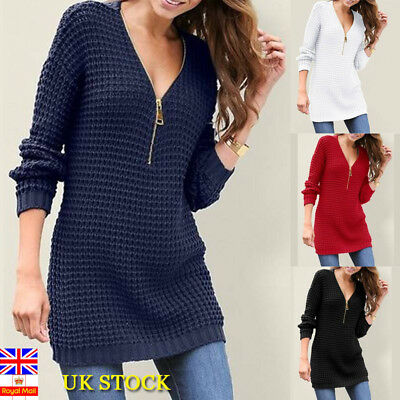 Women Knitted Zip Up V Neck Jumper Jersey Ladies Long Sleeve Tunic Tops Pullover