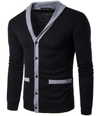 Chic Mens Knitted Cardigan Classic V Neck Sweater Jacket Coat Black Stretchy