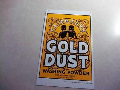 Vintage 1982 FAIRBANKS GOLD DUST WASH POWDER METAL SIGN No Beer? Wisconsin Wi.