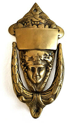 "Brass Vintage Art Nouveau Door Knocker Art Deco Face 7"" Long"