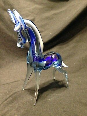 Vintage Hand Blown Art Glass Murano Donkey Figurine