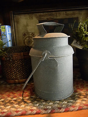 Rusty Textured Galvanize Primitive Reproduction Dairy Can With Lid Country Style