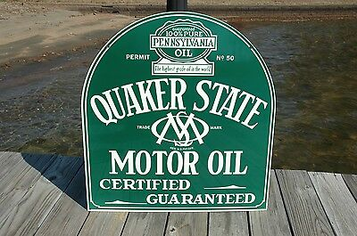Old Style Quaker State Motor Oil Gas Tombstone 2 Sided Swinger Sign Made In Usa