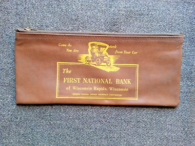 Vintage First Ntional Bank from your car Wisconsin Rapids Deposit Bag Wisconsin