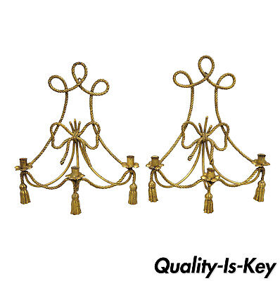 Pair Gold Gilt Italian Hollywood Regency Rope Tassel Wall Sconces Candle Holders