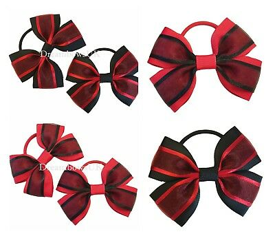 Black and red organza ribbon bows, bobbles or clips, School hair accessories