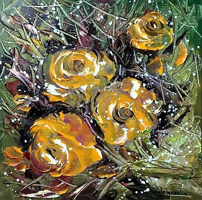 Roses Original Oil Painting ,Palette Knife by Tetiana