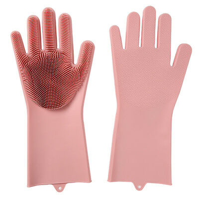 Kitchen Silicone Cleaning Gloves Magic Rubber Dish Washing Brush Gloves Bathing