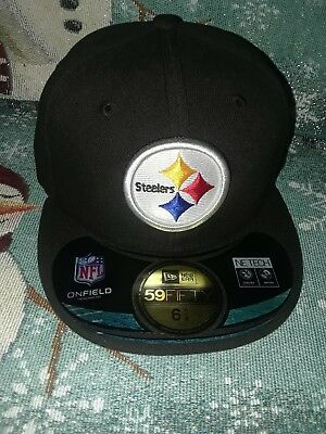 NWT Pittsburgh Steelers New Era NFL Youth On Field 59Fifty Black Cap Hat 6  5  50c455d03ad6