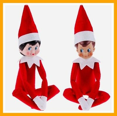 2Pcs Dolls Red Christmas Elf Tradition Red Boy & Girl Kids Toy Gift