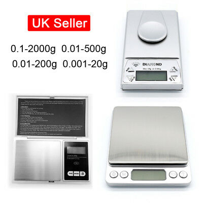 0.1-2000g 0.01-500g 0.01-200g 0.001-20g Mini Digital LCD Jewellery Weight Scales
