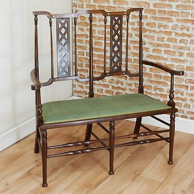 Rare Antique Edwardian Art Nouveau Mahogany Inlaid 2 Seater Window Seat C1895
