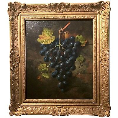 Ornately Framed Oil on Canvas Hanging Grapes Still Life Signed Painting c. 1889