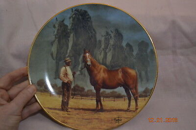 """Horse Plate American Artists The Final Thunder Man O'War Fred Stone 8 1/2"""" 1998"""