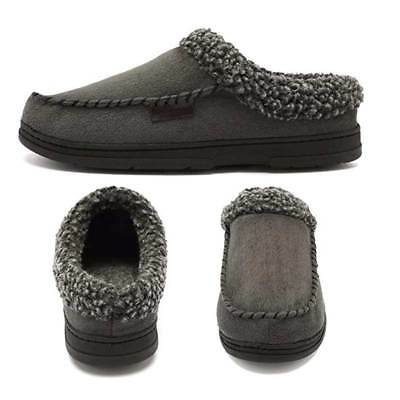Mens Fleece Lined Moccasin Warm Winter Slippers Slip On Home Indoor Shoes Casual