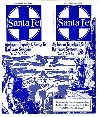 Santa Fe Railway system passenger time table, November 23, 1941 - 63 pages