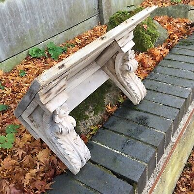 Antique Pine Shelf Victorian Hand Carved Gothic Old Reclaimed Architectural