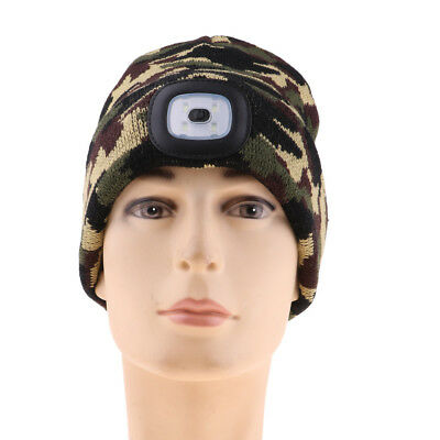 Winter Unisex LED Beanie Hat Knitted Cap Battery Operated Head Lamp Light