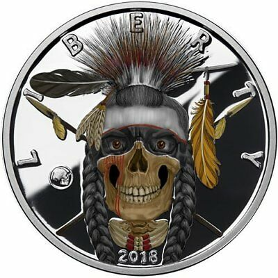 2018 American Western Skulls Series - Indian Warrior Silver Colorized PF Round