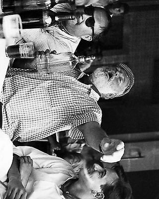Ernest Hemingway Drinking Black And White 8x10 Picture Celebrity Print