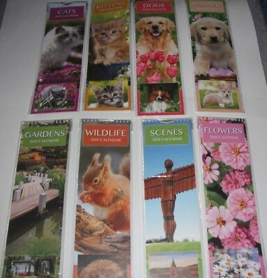 2019 Slim Calendar Cats,Kittens,Dogs,Puppies,Gardens,Scenes,Wildlife,Flowers.NEW