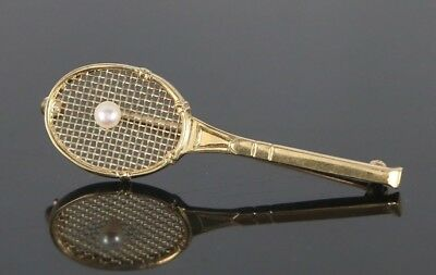 Vintage Estate 14K Yellow Gold 1.90'' 3D Akoya Pearl Tennis Racquet Pin Brooch