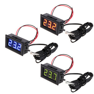 Thermometer 5-12V Car Temperature Meter Gauge Probe Digital LED Panel 1m Pool