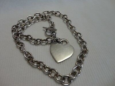 "Mexico ATI Sterling Silver Chain Link Heart Tag Necklace 16"" Toggle Clasp 34.7 g"