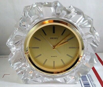 Vintage SEIKO Quartz Mantle Shelf Desk Alarm Clock Made In Japan Clear Gold