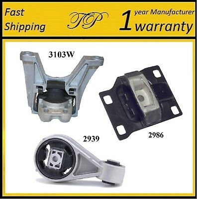 3 PCS FRONT RIGHT MOTOR & TRANS MOUNT FOR 2005-2007 Ford Focus 2.0L DOHC - Auto