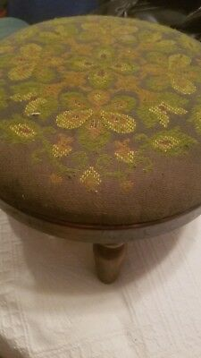 "Vintage Upholstered Foot Stool/ Ottoman Green Flowered 14"" By 8.5"" High 4 Legs"