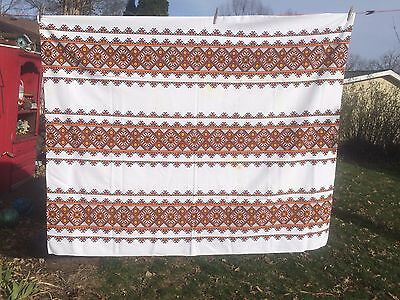 """VTG Tablecloth Stamped Heavy Cotton MCM Orange Brown 54x64"""" Rohware Cutter"""