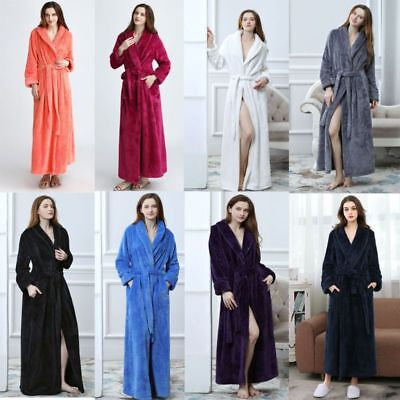 Men's Women's Lengthened Bathrobe Dressing Gown Bath Robe Supersoft Flannel AU