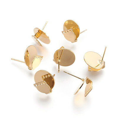 30pcs Gold Plated Brass Round Earring Posts Smooth w/ 4 Loops Stud Findings 14mm