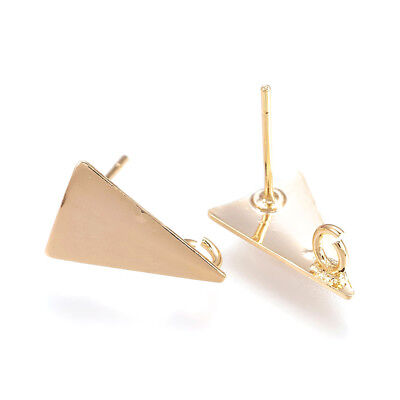 30pcs Gold Brass Triangle Stud Earring Posts Smooth Back Loop Nickel Free 14mm