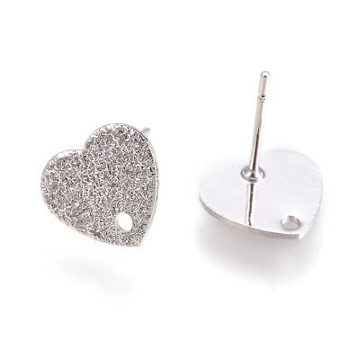 30 Platinum Plated Brass Heart Earring Posts Stardust Studs Nickel Free Loop 9mm