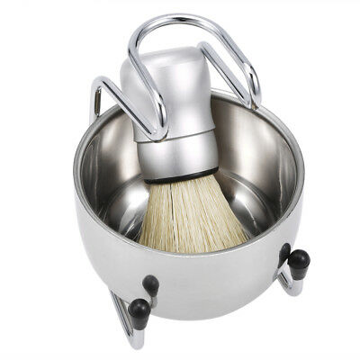 3 In 1 Shaving Set Shaving Brush Stand Soap Bowl Face Hair Cleaning Tools E8Q1