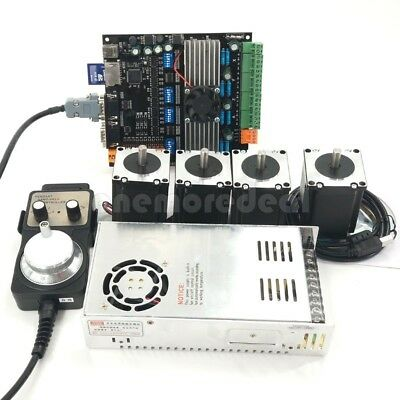 CNC 4Axis Nema23 Stepper Motors 57+MDK2 Motor Controller Board+Power Kit USB dl