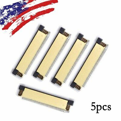 5pcs 0.5mmPitch Clamshell FFC FPC Flexible Flat Cable Connector Socket 40 pin US