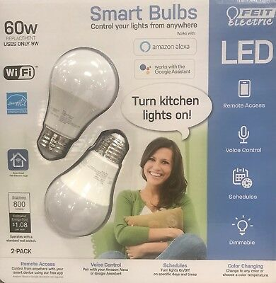 NEW Feit Electric Wi-Fi LED Color Changing Dimmable Smart Bulb 2 Pack   60 Watts