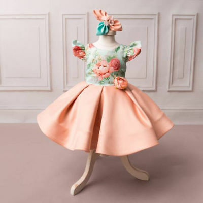 UK Princess Kids Baby Girl Dress Backless Flower Party Pageant Formal Dresses