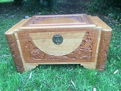 Vintage Camphor Wood Chest/Storage/Blanket Box With Carved Detail