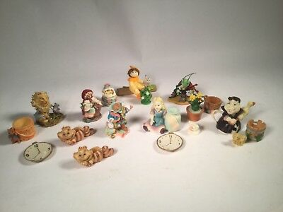 Vtg Alice In Wonderland Mad Hatter White Rabbit clock cat fairytale Figure lot