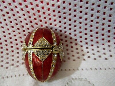 Fitz & Floyd Crystal Egg Red Gold Plated Enamel Hinged Trinket Box