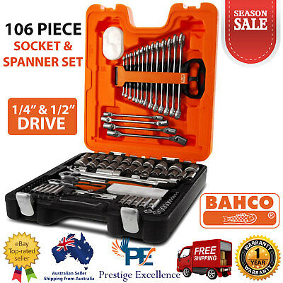 """Bahco S106 106 Piece Mechanical Socket & Spanner Set 1/4"""" 1/2"""" Square Drive Tool"""