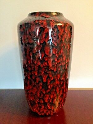 West German Pottery midcentury Vase Scheurich Form 517-38 red black rot lava WGP