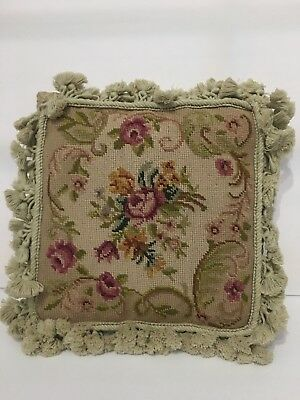 "Vintage 14"" Needlepoint Pillow With Tassels Roses Shabby Cottage Decor Victorian"